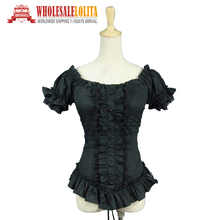 Black Victorian Gothic Steampunk Punk Fitted Ruched Wiccan Witch Blouse Shirt Theatrical