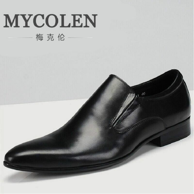 все цены на MYCOLEN Genuine Leather Men Oxford Shoes Lace Up Casual Business Men Shoes Brand Wedding Dress Shoes Men Loafer Tenis Masculinos