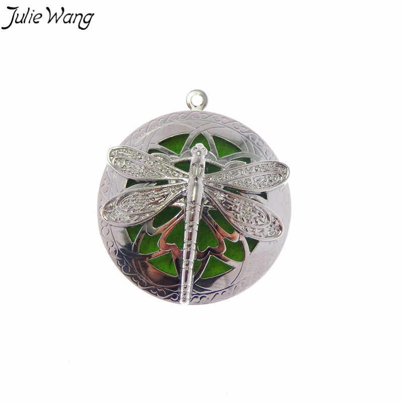 Julie Wang 1PC Nice Detail Cage Locket Flying Dragonfly Cage Locket Aromatherapy Fragrance Diffuser Necklace Jewelry Finding
