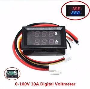 """Image 1 - 10 pièces DC 0 100V 10A voltmètre numérique ampèremètre double affichage détecteur de tension compteur de courant panneau ampèremètre 0.28 """"rouge bleu"""