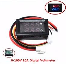 """10 sztuk DC 0 100V 10A woltomierz cyfrowy amperomierz podwójny wyświetlacz czujnik napięcia miernik prądu Panel Amp woltomierz 0.28 """"czerwony niebieski"""