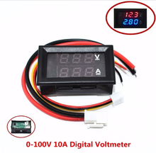 """10pcs  DC 0 100V 10A Digital Voltmeter Ammeter Dual Display Voltage Detector Current Meter Panel Amp Volt Gauge 0.28"""" Red Blue"""