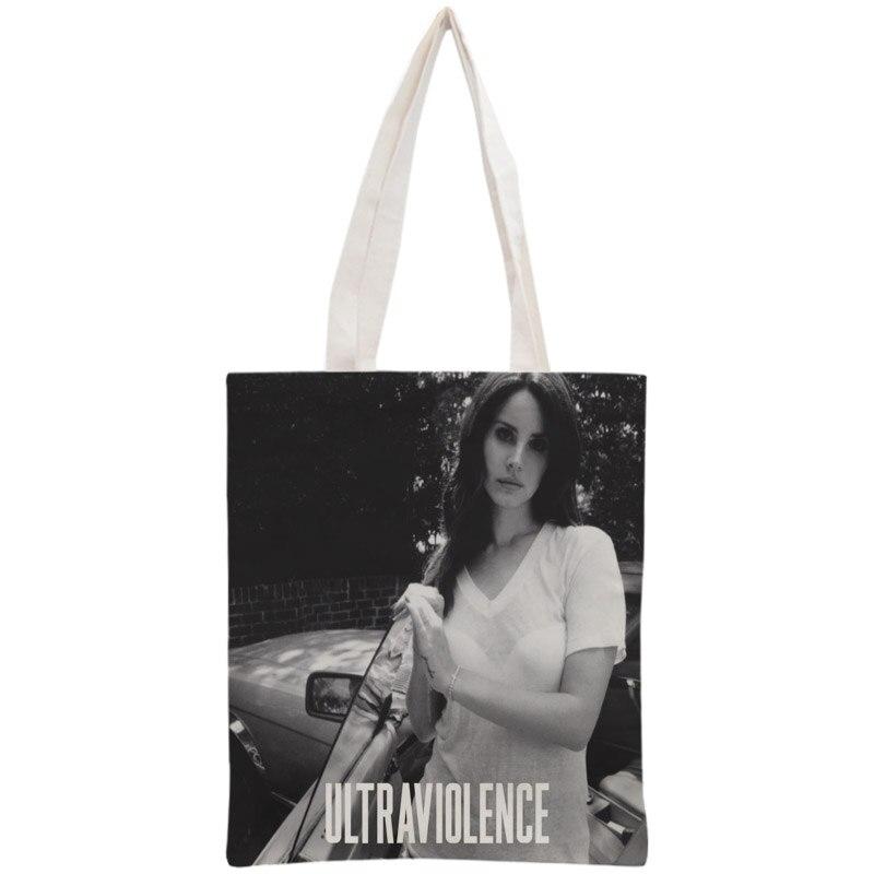 Custom Lana Del Rey Tote Bag Reusable 30x35cm Two Sides Handbag Shoulder Pouch Foldable Canvas Shopping Bags