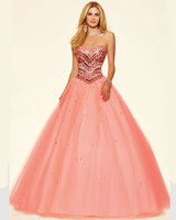 Style 98003 Mint Leaf Coral Burst Tulle Corset Back Gowns Graduation Sweetheart Floor Length Ball Gown