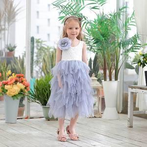 Image 3 - Novedad de verano, vestido de encaje para niña, vestido de princesa con flores, vestido de tul escalonado a media pantorrilla para fiesta de boda, ropa para niños E17103