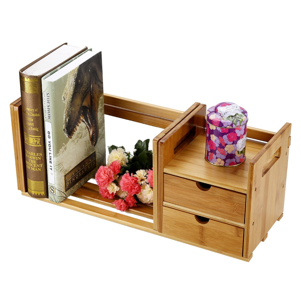 Image 4 - Tabletop Bookcase Bamboo Wood Extendable Desk Tabletop Book Rack Bookshelves Bookcase Organizer with 2 Drawer Tabletop kirjahyll-in Bookcases from Furniture