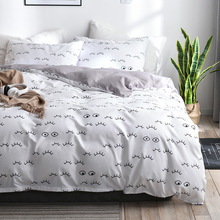 Simple modern three-piece set Dormitory bed linen luxury suite Queen duvet cover Childrens pillowcase Home textiles No sheets