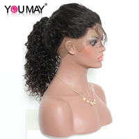 You May Hair Pre Plucked 360 Lace Frontal Wigs Deep Wave Brazilian Remy Hair Natural Color