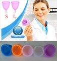 Nova 2 pcs produtos de higiene feminina vaginal care/senhora copo menstrual/alternativa médica copos de silicone tampões de Segurança senhora copo