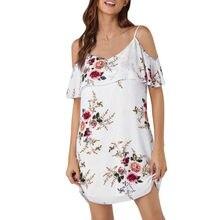 White Off Shoulder Chiffon Floral Mini Dress Ruffle Dress Strapped Loose  Print Above Knee Party Dresses cd93c4ec4bda