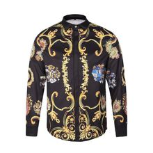 2017 New Men's Shirt Spring Gothic Shirt Men Luxury 3D Gold Flowers Shirt Casual Punk Rock Royal  Baroque Shirts Large size XXL