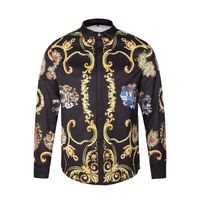 2017 New Men S Shirt Spring Gothic Shirt Men Luxury 3D Gold Flowers Shirt Casual Punk
