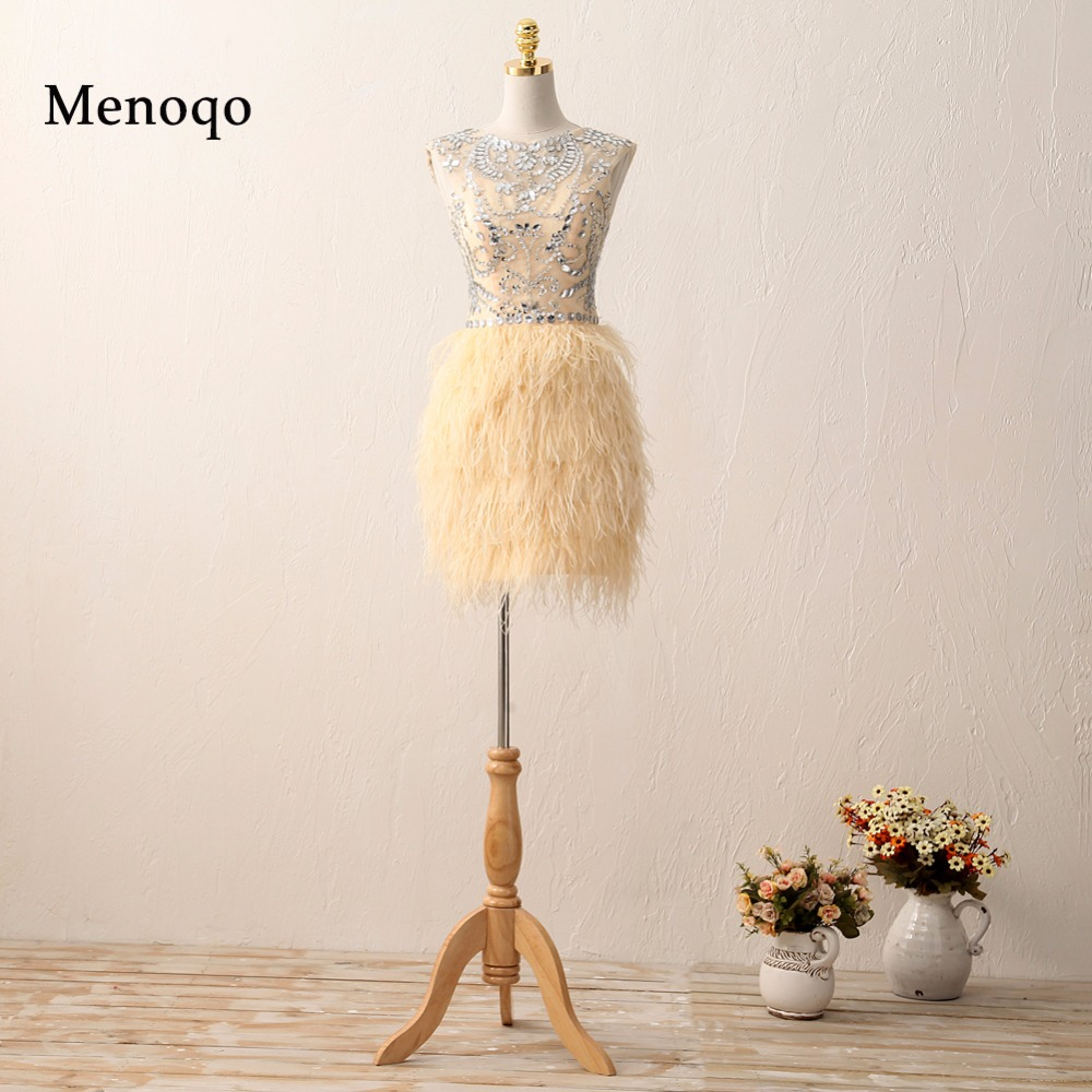 SML007 Top selling 2018 Sheath Heavy beaded mini short ostrich feather   cocktail     dress