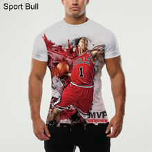 2016 Of The Latest 3D Printed Superstar Derrick Rose T-Shirt Hipster With Short Sleeves Lycra O-neck Tops Streetwear Casual