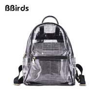 BBirds Fashion Transparent Backpacks Clear PVC Waterproof Men and Women Bag Zipper Student School Backpack Travel Beach Bag