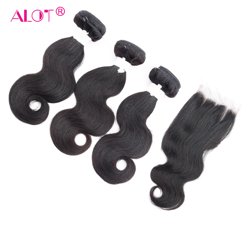 ALot Body Wave Short Bundles With Closure Can DIY To Bob Wig Brazilian Human Hair Weave Non Remy Middle/Three Part Lace Closure