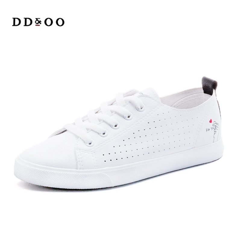 2018 shoes woman summer new fashion casual breathable flats PU leather soft solid color women casual white shoes sneakers