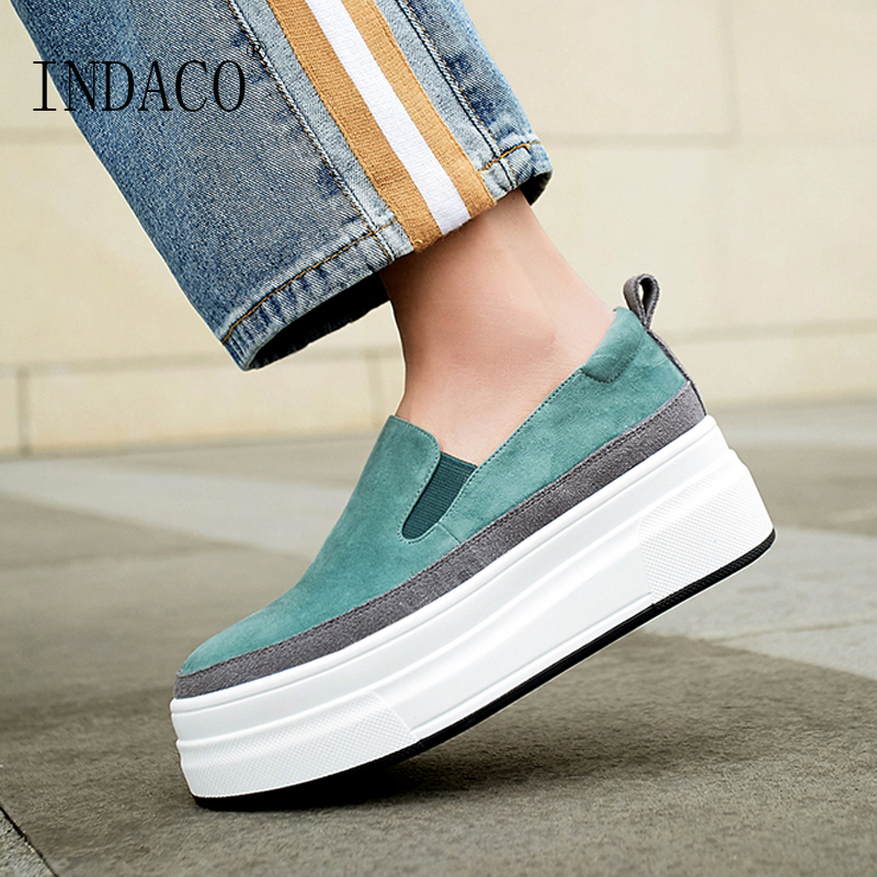 Casual Shoes Women Platform Sneakers Shoes Leather Women Loafers Green Black 5cm