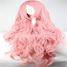 Long kinky pink wavy curly heat resistant synthetic wig
