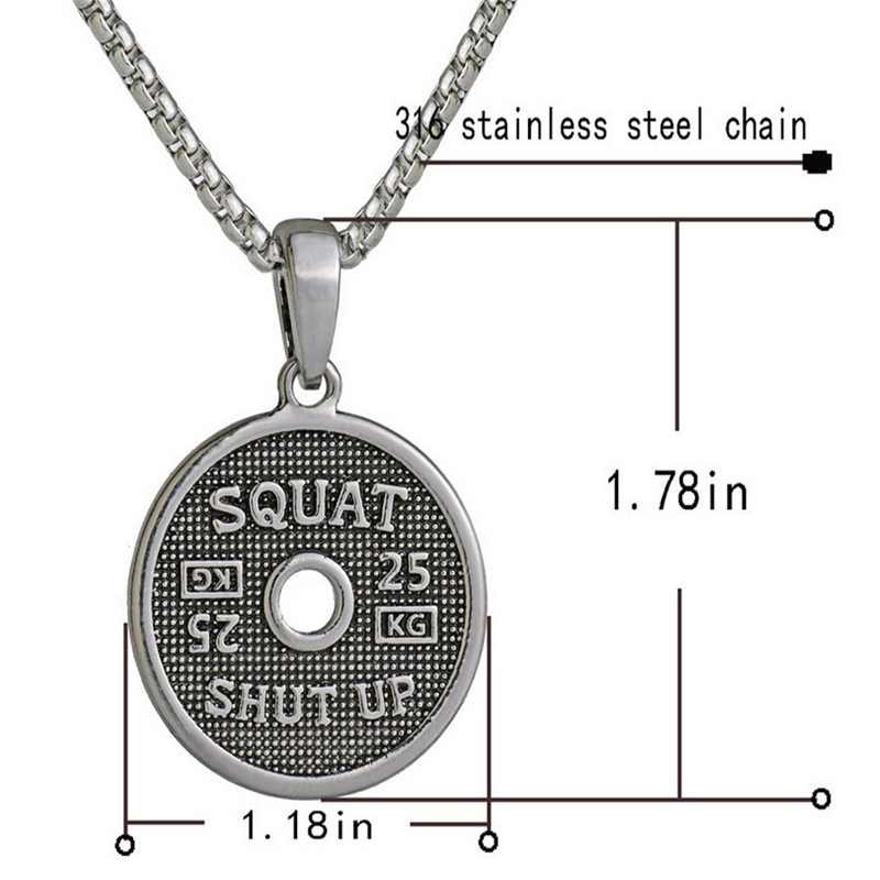 Men Stainless Steel Dumbbell Pendant Necklaces Bodybuilding Crossfit Charms Fitness Necklace Fashion Sport Gym Jewelry Free Bag