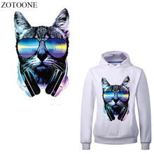 ZOTOONE Cool Glasses Cat Patches For T-shirt Clothes Iron-on Transfers Applique Heat Transfer Vinyl Thermal Transfer Printed E parches cartoon cat heat transfer vinyl for t shirts iron on transfers patches for clothing thermal transfer sticker washable e