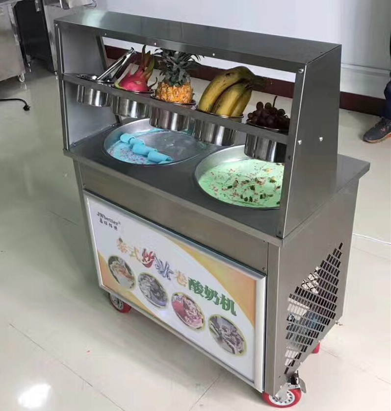 free ship 25-35L/H 220V 110V fried ice cream machine, Ice Cream Machine, double pan 5 barrels frying Ice Cream Maker for sale double pressure ice frying machine double pan fried ice cream machine
