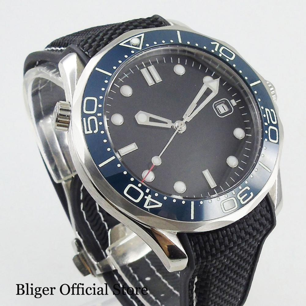 BLIGER New Sterile Automatic 41mm Men's Watch With Date Window Sapphire Crystal Silver Case