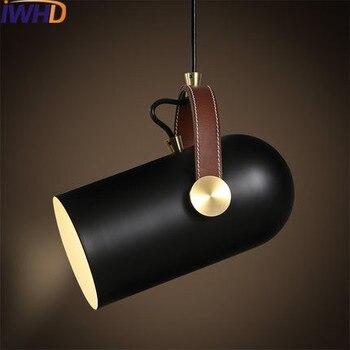 IWHD wisiorek LED światła nowoczesne moda żelaza zawieszenie oprawa czarny jadalnia roon przekazanie lampa kuchnia oprawy oświetleniowe Lustre