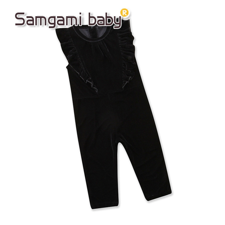 SAMGAMI BABY Kids Spring Autumn Ruffle Velvet Pants   Romper   Jumpsuit Outfits Girls Clothes Solid Color Overalls black Trousers