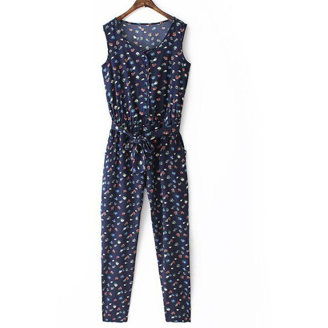 2017 New Chiffon Blue Small Floral Women Jumpsuits  Summer Casual Regular O-Neck Lady Long Rompers