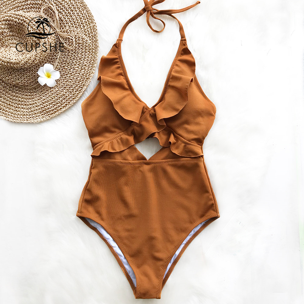 CUPSHE Brown Ruffle Solid One-piece Swimsuit Women Deep V-neck Halter Backless Slim Monokinis 2018 Girls New Cut Out Swimwear cut out color block one piece swimwear