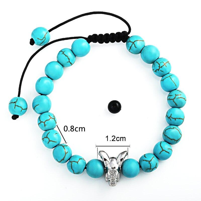 8mm Natural Stone Green Crack Beaded Bracelet Mens Stainless Steel Elephant Head Bracelet Handwoven Adjustable Bracelet