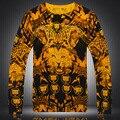 Personalizada animal cabeza de leopardo patrón de impresión suéter del boutique 2016 de calidad Del Otoño y Del Invierno de lana y algodón suéter de los hombres M-XXXL
