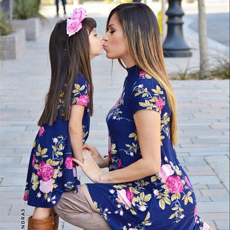 Mother Daughter Dresses Mom And Baby Clothes Mummy Outfits Floral Birthday Party Parents Kids Family