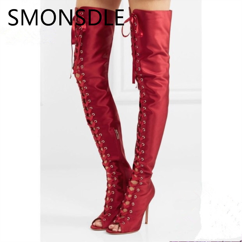 2018 Spring Summer Black Stain Lace Up Over the Knee Women Shoes Open Toe Thin High Heels Cross Tied Summer Boots Shoes Woman women spring autumn lace up over the knee boots pointed cross tied and spike heels long boots solid high heels boots