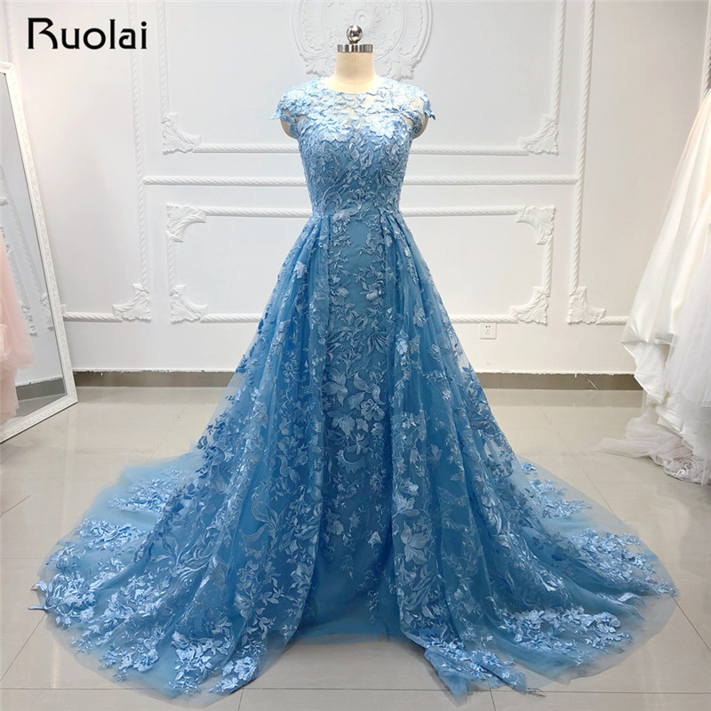 2019   Evening     Dress   Long Sky Blue   Evening   Gown for Women Formal   Dress   Applique Crystal Beaded Lace Prom   Dress   Robe de Soiree SN35