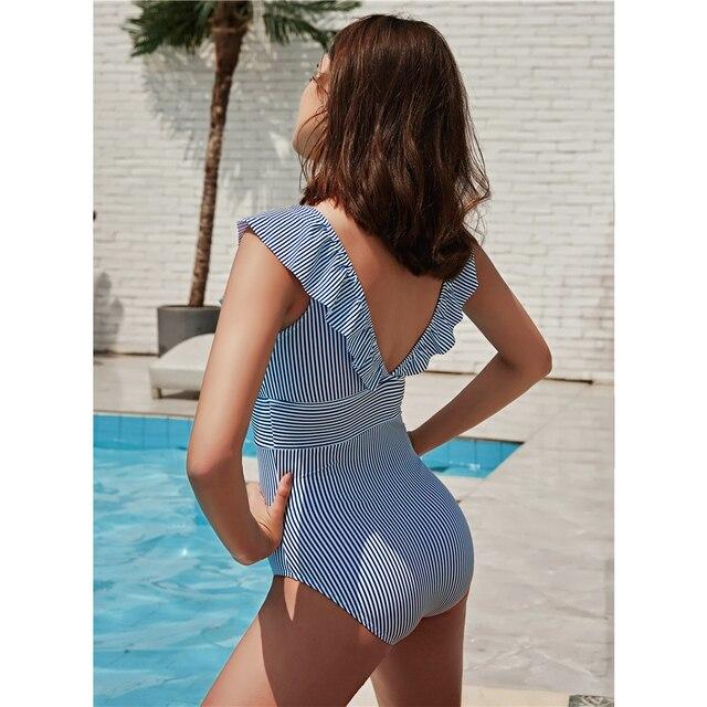 PLAVKY 2020 Sexy kobiet Retro V Neck niebieski pasiasty stroj strój damski kąpielowy jednoczęściowy potargane Push Up wyściełane wysokiej talii stroje kąpielowe kobiet Monokini