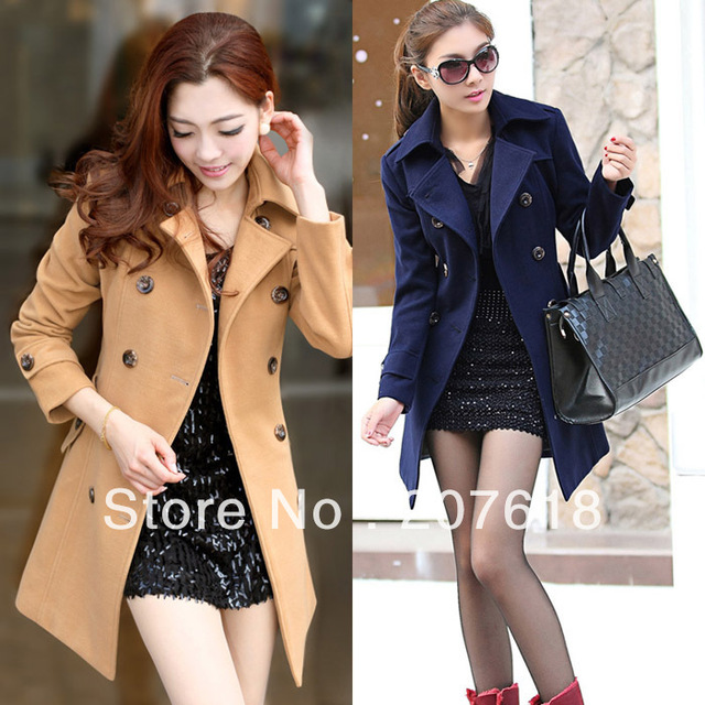 Woman Wool Coat Overcoat Long Tunic Double Breasted Coats OL Dress Autumn Winter Outerwear 2 colors