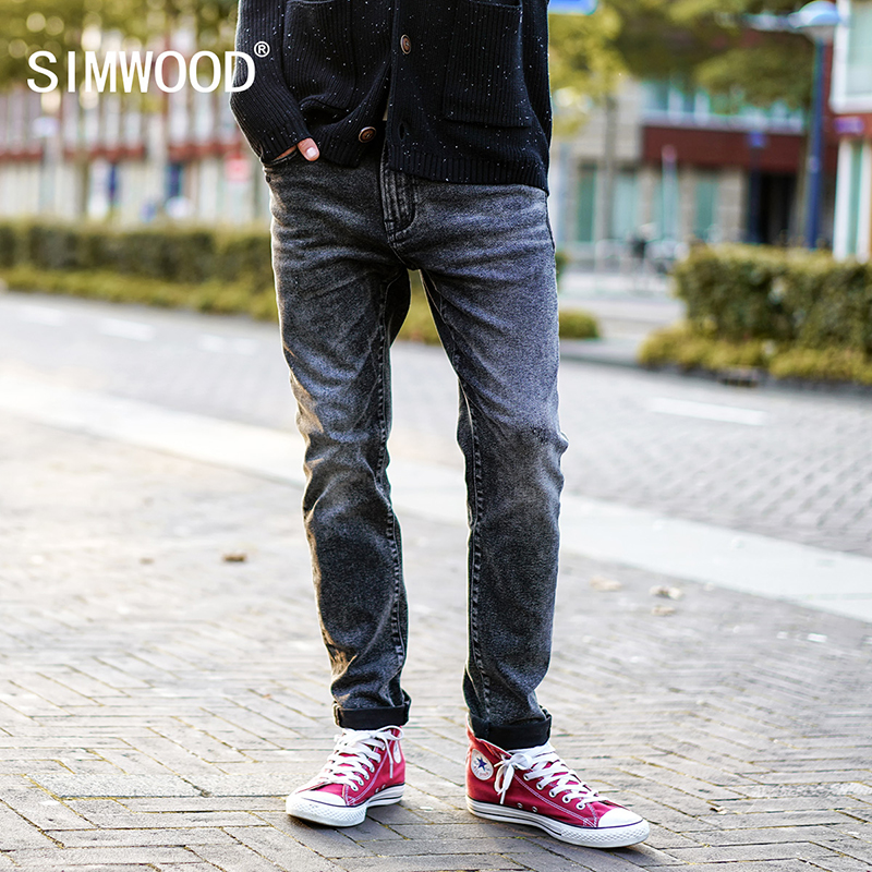 SIMWOOD 2017 Autumn Winter New Scratched Jeans Men Classic Casual Jeans Denim Trousers Male Slim Fit Plus Size NC017016 men jeans 2017 autumn winter mens denim jean blue cotton pants men denim trousers slim fit jeans male plus size high quality