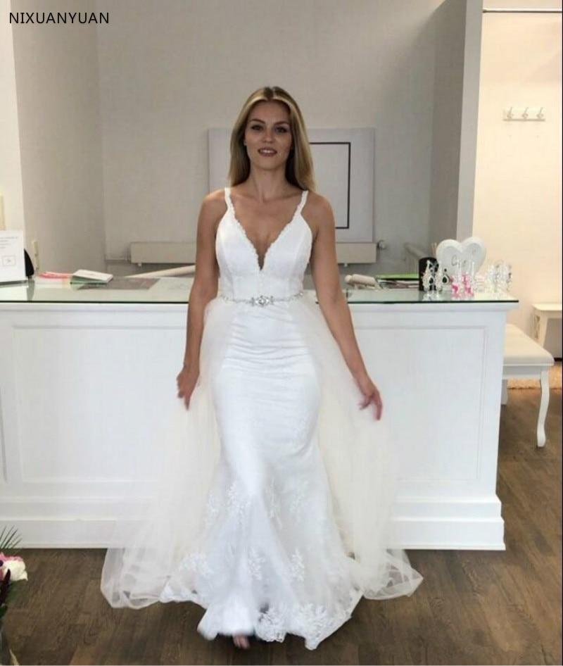 Deep V Neck Ivory 2020 Elegant Mermaid Wedding Dress Sexy Backless Bridal Gowns with Skirt Train Wedding Gowns Vestido De Noiva