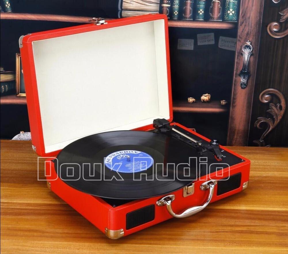 2016 New Douk Audio Portable 3-Speed Stereo Turntable Retro LP Vinyl Record Player Built-in Speakers