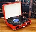 2016 Nova Douk Velocidades Turntable Estéreo de Áudio Portátil Retro Vinil LP Record Player Alto-falantes Embutidos
