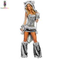 Luxurious Faux Fur Adult Women Sexy Animal Big Bad Wolf Halloween Costume Soft Furry Velvet Catwoman Costumes Gray Demon Outfit