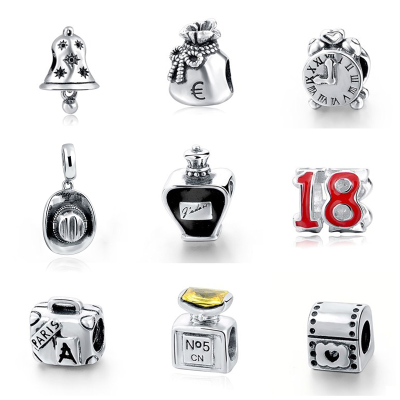 Hot sale 925 Sterling Silver hat clock Beads beautiful beads fit pandora charm beads for jewelry making Gifts free shipping