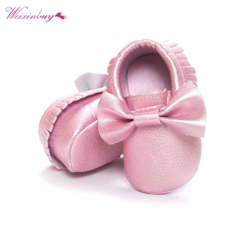 18 farver Kvaster PU Læder Vandtæt Baby Sko Newborn Moccasin Soft Infants Prewalker
