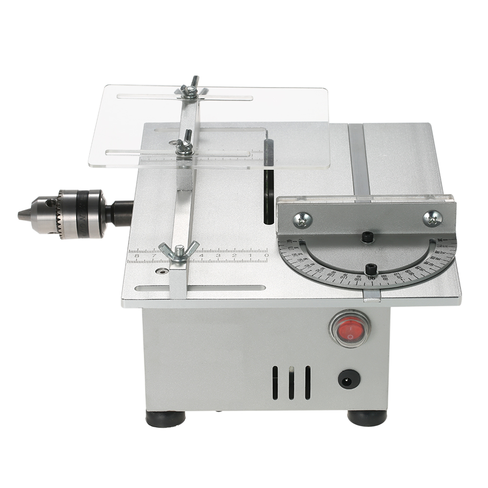 100W Mini Table Saw Aluminum Miniature Woodworking Bench Saw 7000RPM PCB Cutter Carpentry Chainsaw Cutting DC 12-24V US Plug