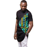 African Man's Clothes Print And Black Tops Dashiki Men Clothing Africa Style Design Dance Festive Costume Men T shirt