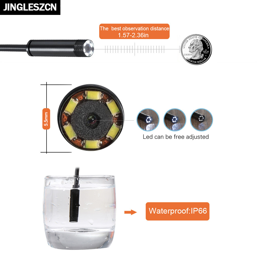 JINGLESZCN AV Endoscope Cam 5V 5.5mm Dia 1m/5m/10m/15m/20m Cable NTSC Waterproof Inspection Borescope Mini Camera Snake Video