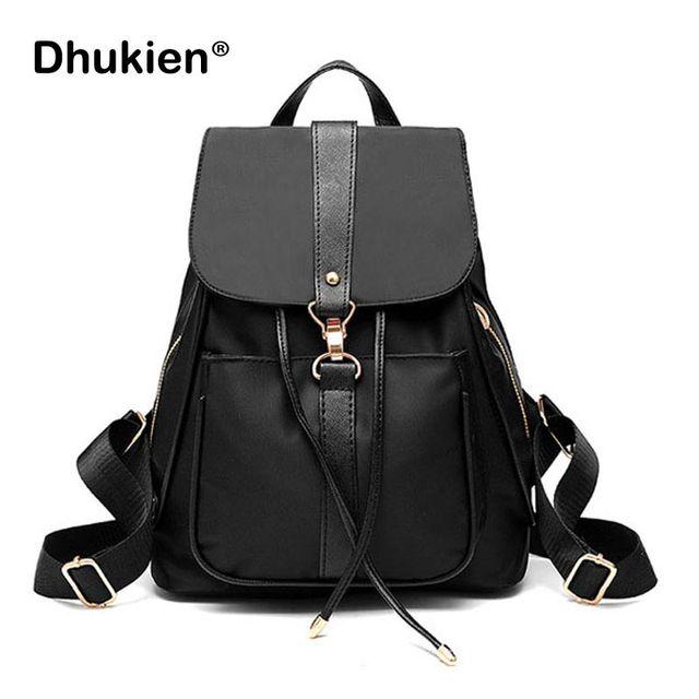 bcf67d7e32538 Kobiety Nylon plecak mały wodoodporna torba szkolna dla dziewczyn czarny  kobiet plecaki ze sznurkiem B17008
