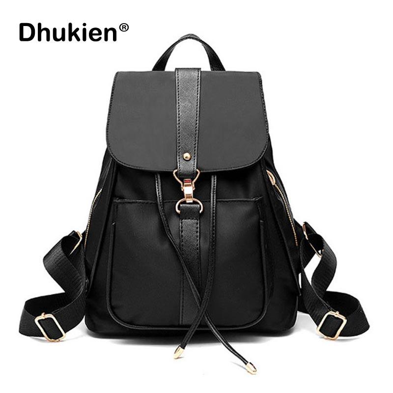 Sac à dos en Nylon pour femmes petit sac d'école étanche pour filles noir femme sacs à dos à cordon B17008